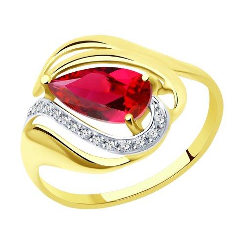 Кольцо из желтого золота с красным корундом (синт.) и фианитами (714706-2) - фото