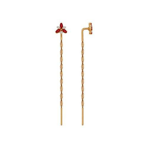 Серьги-цепочки SOKOLOV из золота с красными фианитами