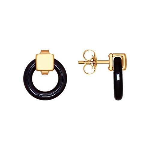 Серьги-пусеты из золота с чёрными керамическими вставками
