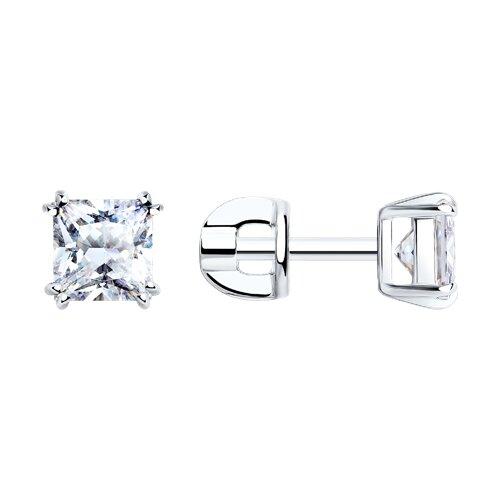 Серьги-пусеты из серебра с фианитами (94021725) - фото