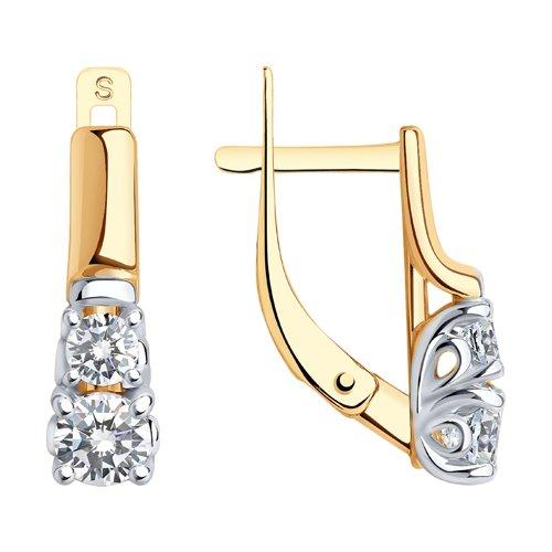 Серьги из золота с фианитами (028013) - фото