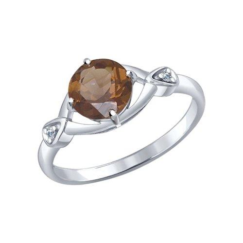 Кольцо из серебра с раухтопазом и фианитами (92011073) - фото
