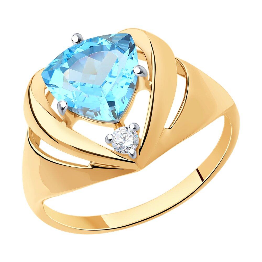 Кольцо SOKOLOV из золота с топазом и фианитом