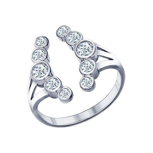 Кольцо «Зимняя Вишня» из серебра с фианитами