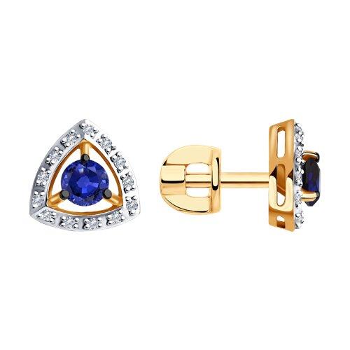 Серьги-пусеты из золота с бриллиантами и сапфирами (2020985) - фото