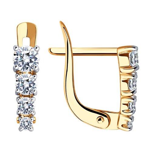 Серьги из золота с фианитами (027455) - фото