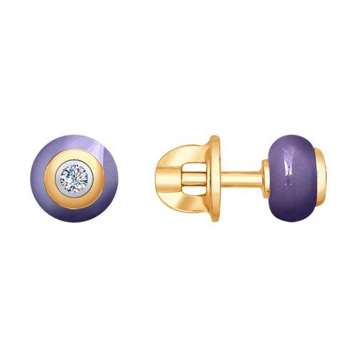 Серьги из золота с бриллиантами и сиреневой керамикой (6025068) - фото
