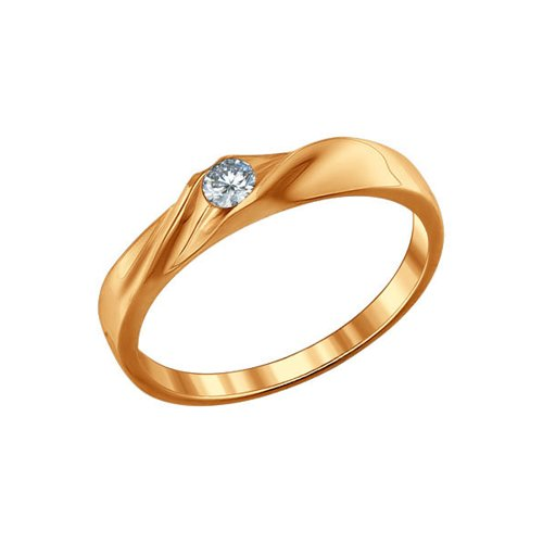 Помолвочное кольцо из золочёного серебра с фианитом (93010389) - фото