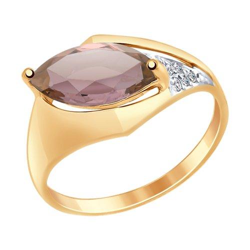 Кольцо из золота с жёлтым ситаллом и фианитами