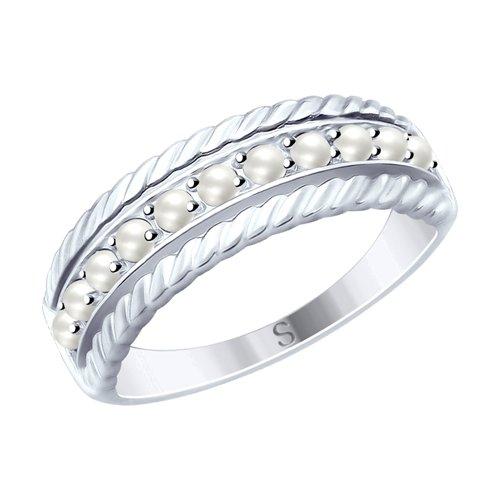 Кольцо из серебра с жемчугом Swarovski (94012494) - фото