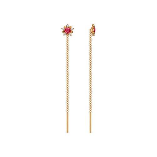 Серьги-цепочки из золота с красными фианитами