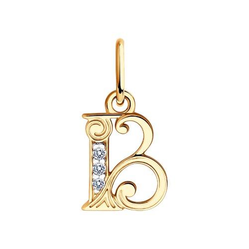 Кулон-буква «В» с фианитами (033813) - фото