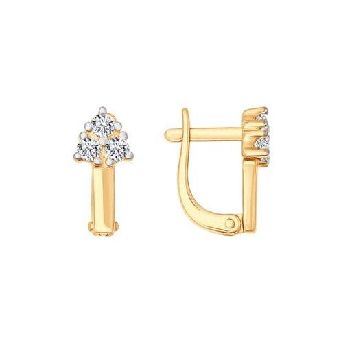Серьги из золота с фианитами (026805) - фото