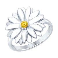 Кольцо «Ромашка» из серебра с золочением