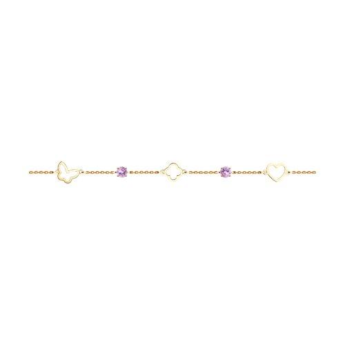 Браслет из золота с аметистами (750387) - фото