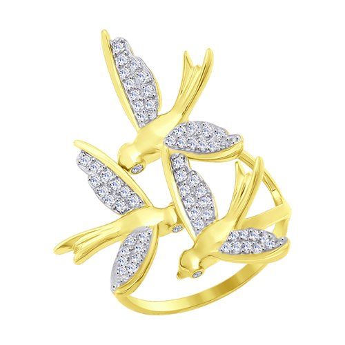 Кольцо из желтого золота с фианитами (017083-2) - фото