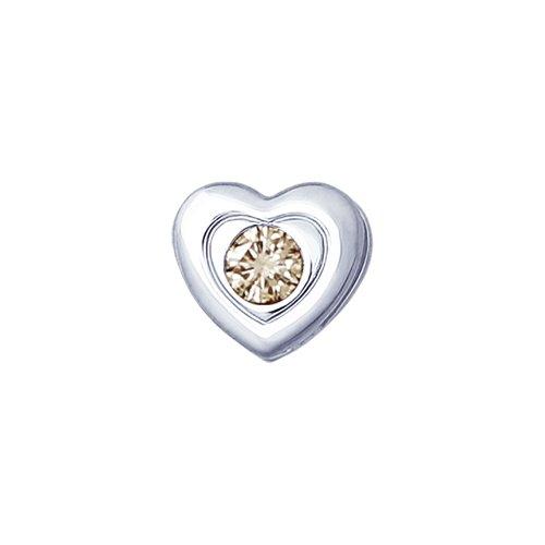 Серебряная подвеска «Сердце» с коньячным бриллиантом (87030005) - фото