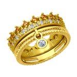 Кольцо из золочёного серебра с бесцветными и жёлтыми фианитами