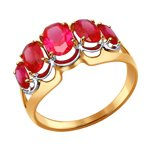 Кольцо из золота с красными корундами (синт.)