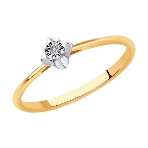 Кольцо из комбинированного золота с бриллиантом (1011947) - фото