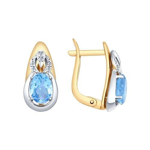 Серьги из комбинированного золота с голубыми топазами и фианитами (724707) - фото