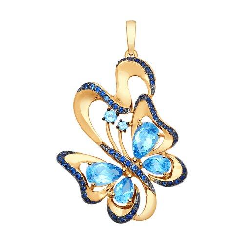 Подвеска «Бабочка» из золота с топазами и синими фианитами (731579) - фото