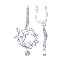 Серебряные серьги «Колибри» с фианитами