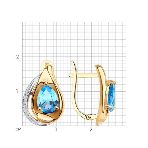 Серьги из золота с топазами и фианитами 725555 SOKOLOV фото 2