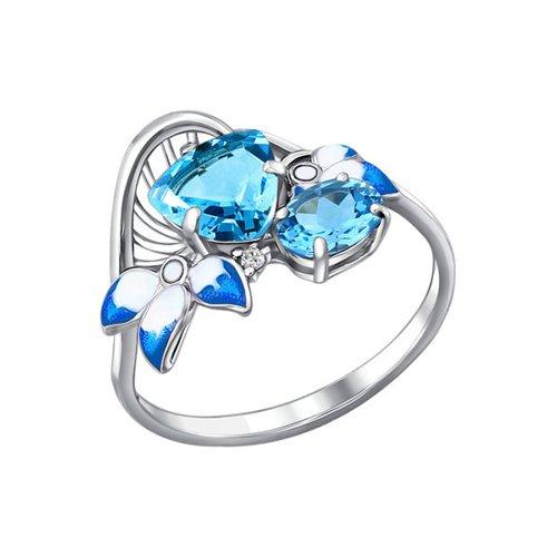 Кольцо из серебра с эмалью с топазами и фианитом