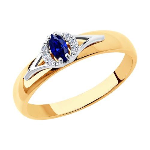 Кольцо из комбинированного золота с бриллиантами и сапфиром