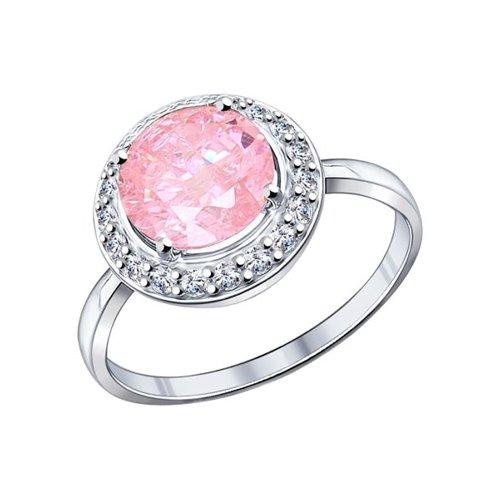 Кольцо из серебра с розовым фианитом