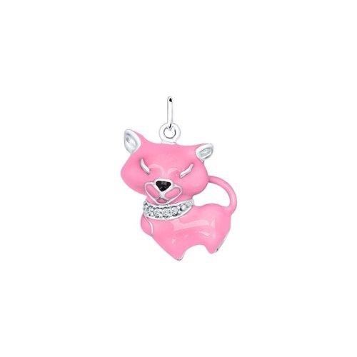 Подвеска «Кошка» с розовой эмалью