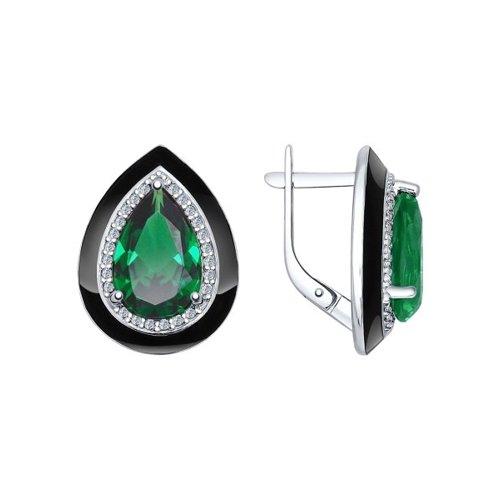 Серьги из серебра с эмалью с зелеными ситаллами и фианитами
