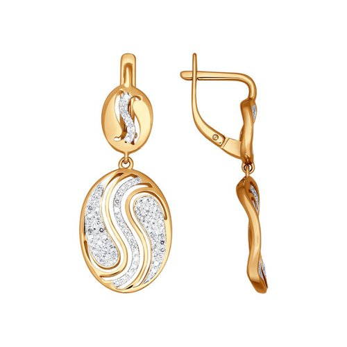 Длинные золотые серьги с бриллиантами SOKOLOV