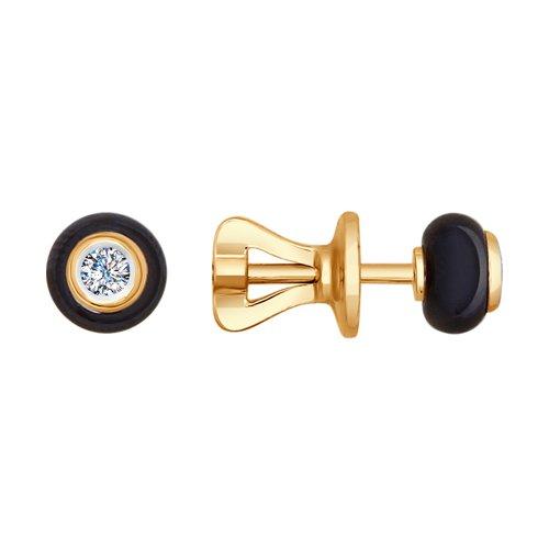 Серьги-пусеты из золота с бриллиантами и керамикой (6025001) - фото