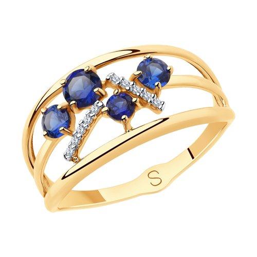 Кольцо из золота с синими корунд (синт.) и фианитами (715650) - фото