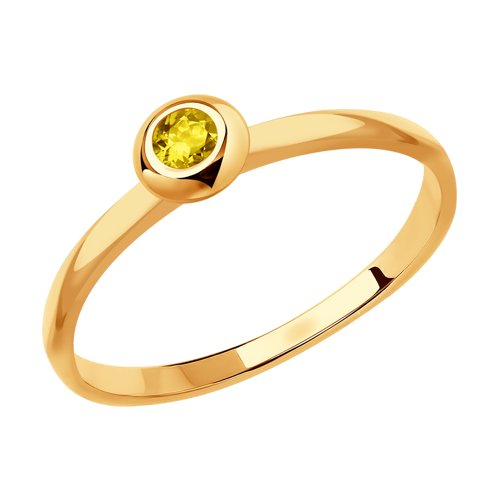 Кольцо из золота с жёлтым сапфиром (2011109) - фото