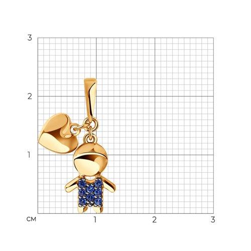 """Подвеска """"Мальчик"""" из золота с синими фианитами 034908 SOKOLOV фото 2"""
