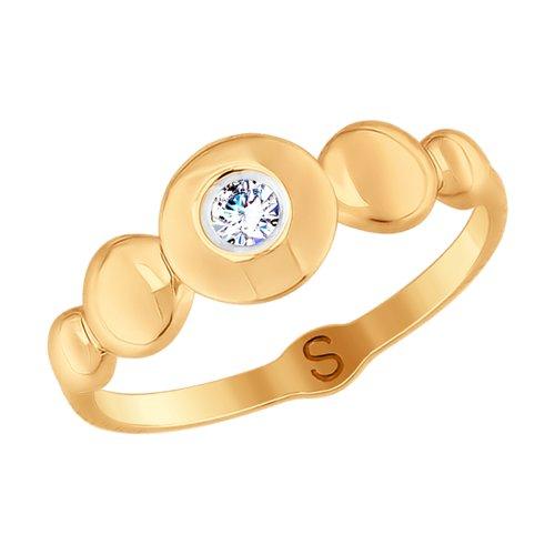 Кольцо из золота с фианитом (017688) - фото