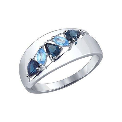 Кольцо из серебра с синими топазами (92011102) - фото