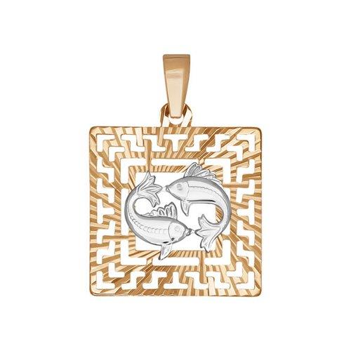 Подвеска из комбинированного золота с алмазной гранью (032231-9) - фото