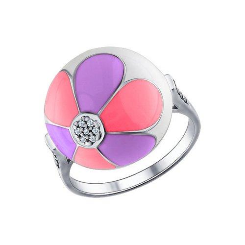 Кольцо SOKOLOV из серебра с эмалью с фианитами кольцо с фианитами и эмалью из серебра valtera 91731