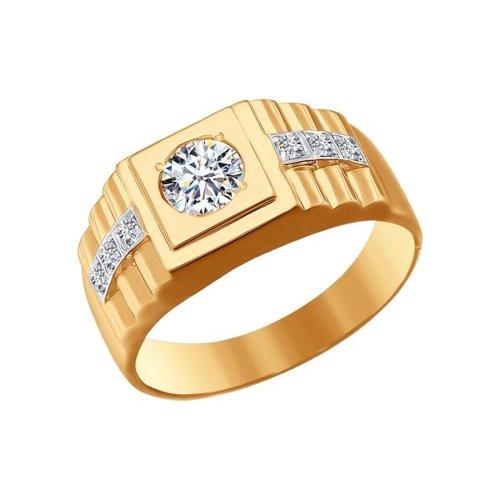 Печатка из золота с фианитами