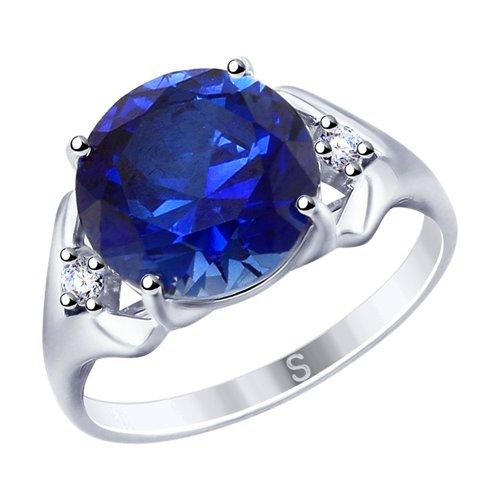 Кольцо из серебра с синим корундом (синт.) и фианитами (88010052) - фото