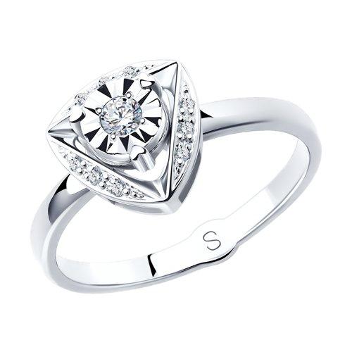 Кольцо из белого золота с бриллиантами (1011793) - фото