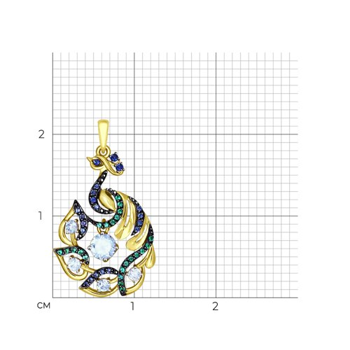 Подвеска из желтого золота с голубыми, зелеными и синими фианитами (035096-2) - фото №2