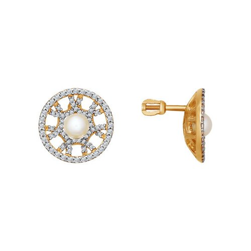 Фото - Серьги с жемчугом украшенные фианитами SOKOLOV золотые серьги украшенные бантиком с гранатом sokolov