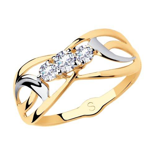 Кольцо из золота с фианитами (018129) - фото