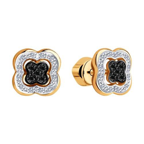 Серьги из золота с бесцветными и чёрными бриллиантами 7020058 SOKOLOV фото 3