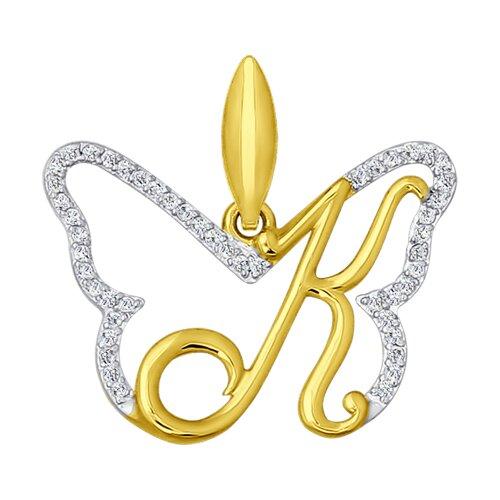 Подвеска буква К из желтого золота с фианитами